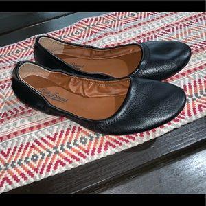 Lucky brand black leather flats Sz 8.5